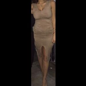 Nude dress with slit